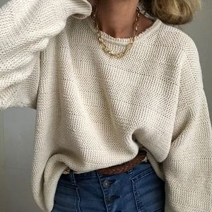 VTG⫸ textured eggshell knit cotton sweater